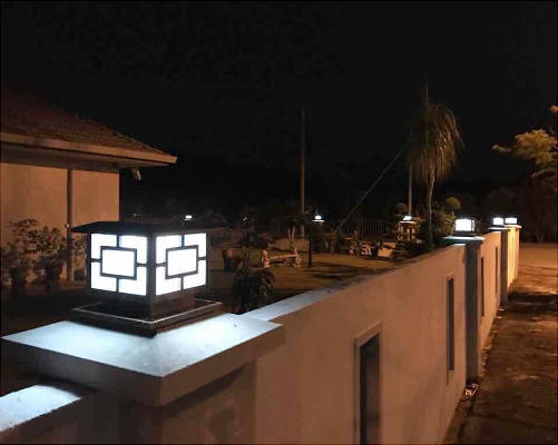 fancy design solar pillar lights bulk production for landscape