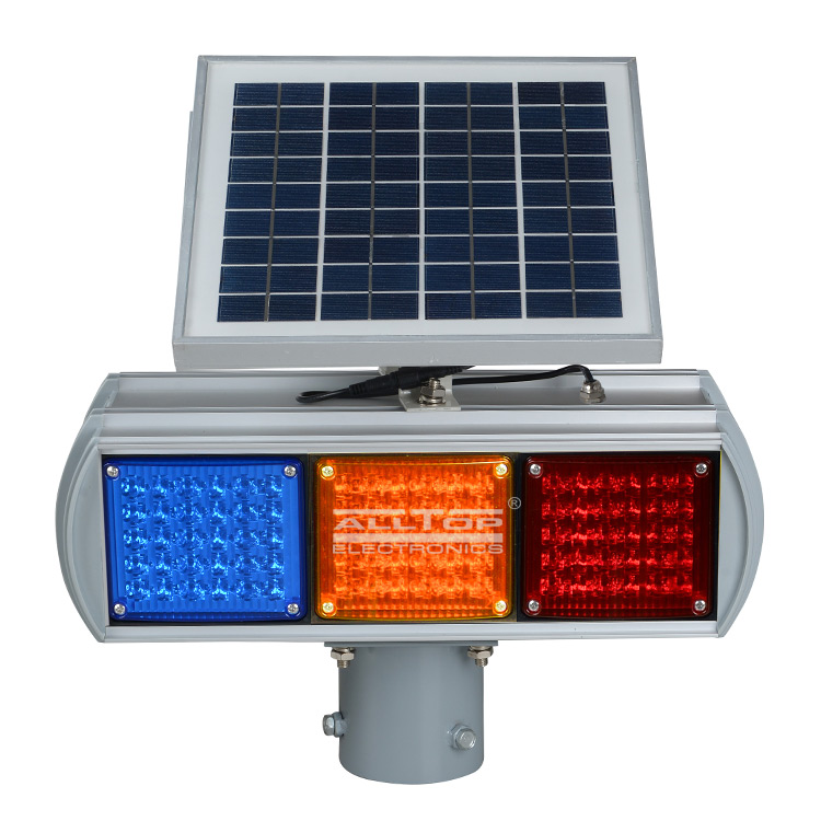 ALLTOP -Hight Quality Solar Power Led Flashing Light Warning Traffic Light-1