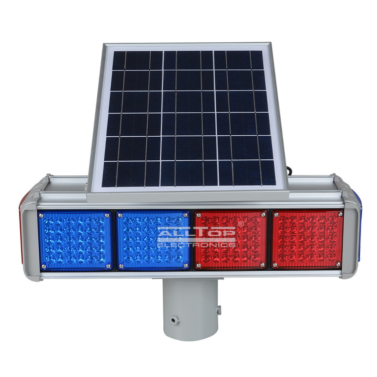 ALLTOP -Hight Quality Solar Power Led Flashing Light Warning Traffic Light-5