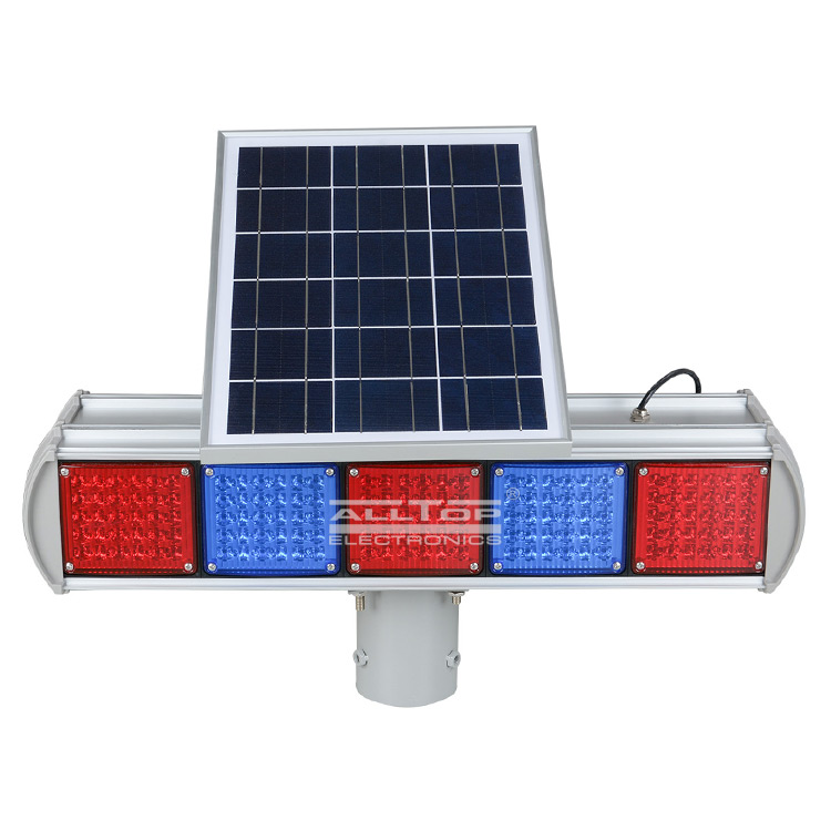 ALLTOP -Hight Quality Solar Power Led Flashing Light Warning Traffic Light-6