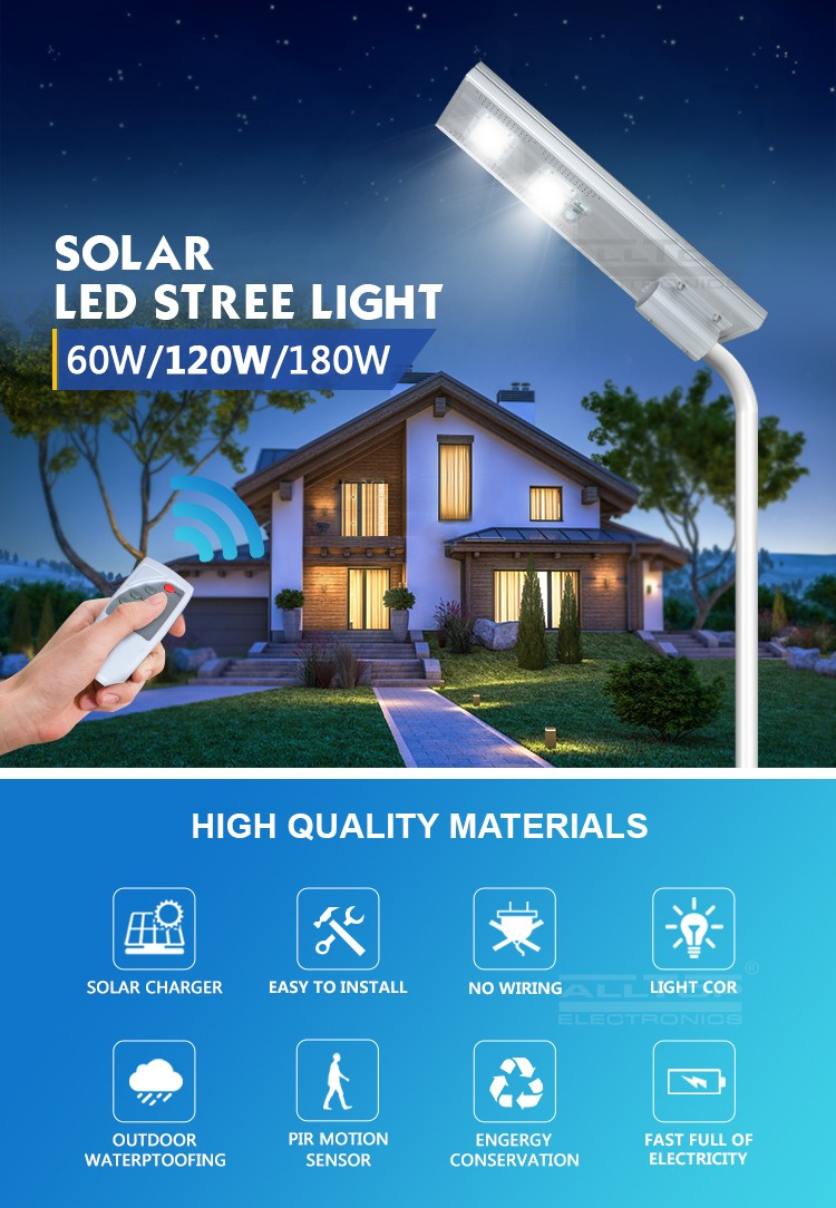 ALLTOP -Solar Led Lights Waterproof Outdoor Ip65 Motion Sensor Integrated 60w-3