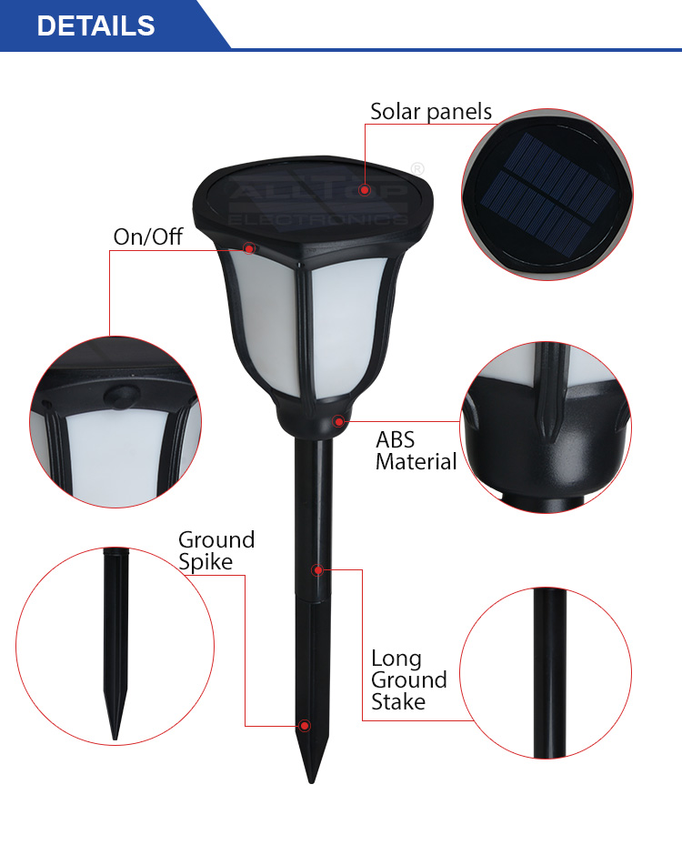 ALLTOP -Solar Garden Lamps Energy Saving Waterproof Ip65 Garden 2watt Solar Led-6