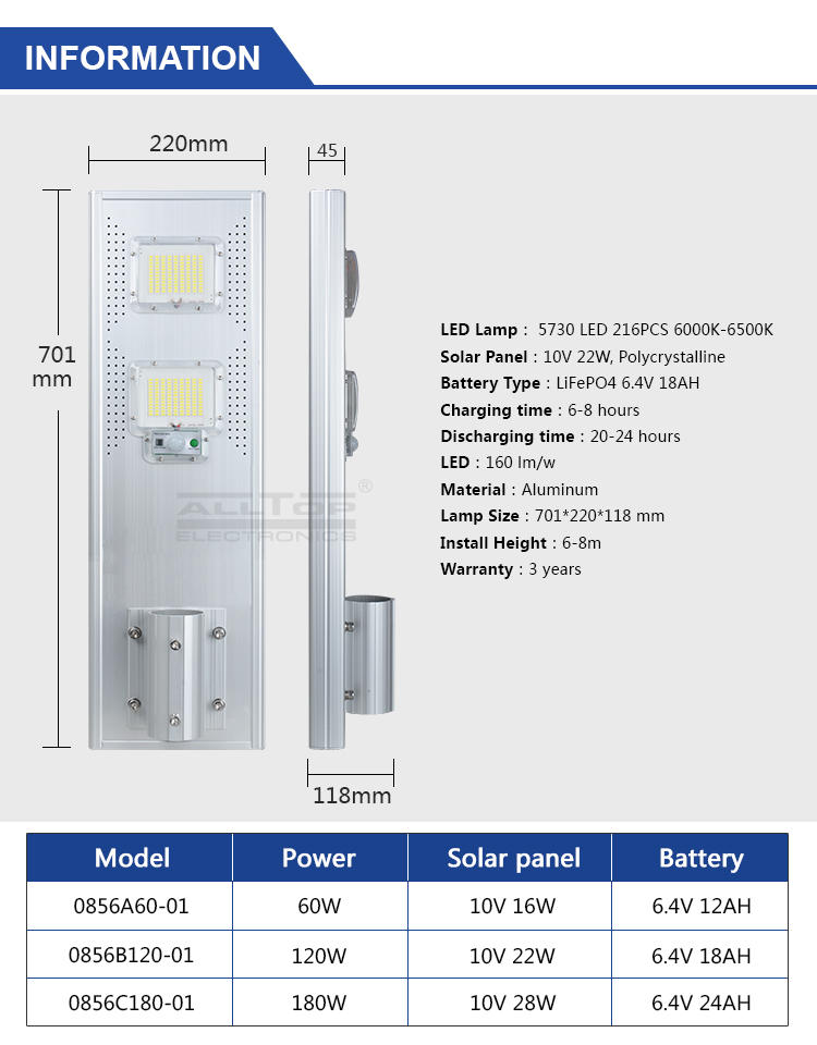 street outdoor garden ALLTOP Brand all in one solar street lights manufacture