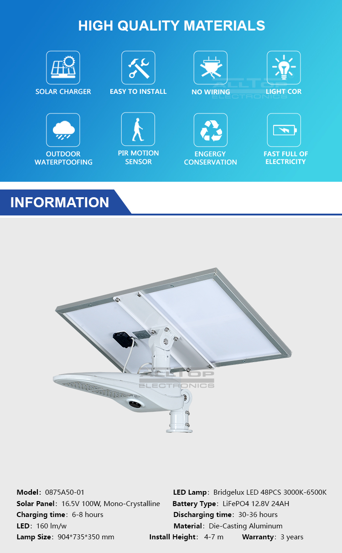 ALLTOP -Solar Light For Road | 50w Pir Motion Sensor Outdoor Waterproof Ip65 Led-2