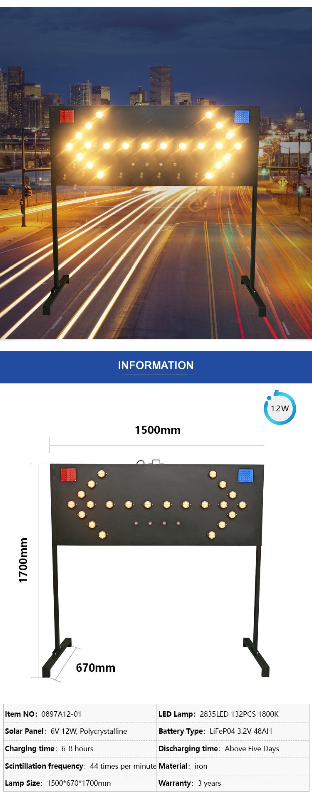 ALLTOP -Solar Traffic Light | Alltop Solar Road Safety Signs Board Traffic Guide-2
