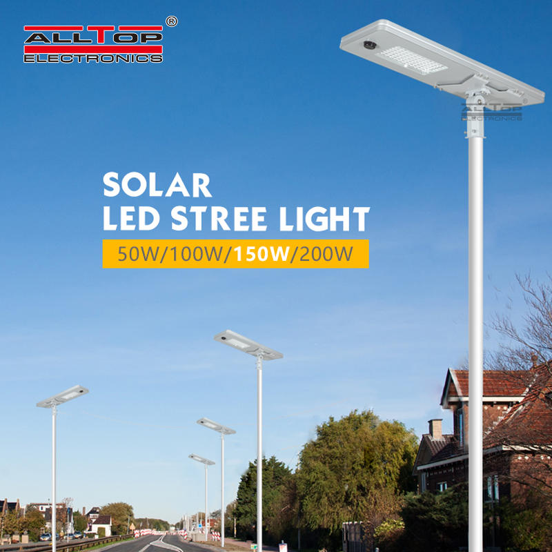 ALLTOP 50W 100W 150W 200W IP65 outdoor integrated motion sensor all in one solar led street light