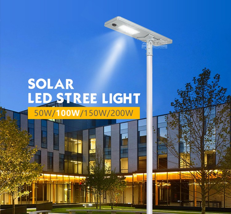 ALLTOP 50W 100W 150W 200W IP65 outdoor integrated motion sensor all in one solar led street light-15
