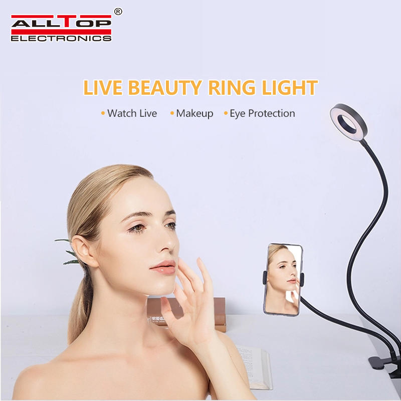 Live Stream Makeup Selfie Clip with Cell Phone Holder Stand table led ring light