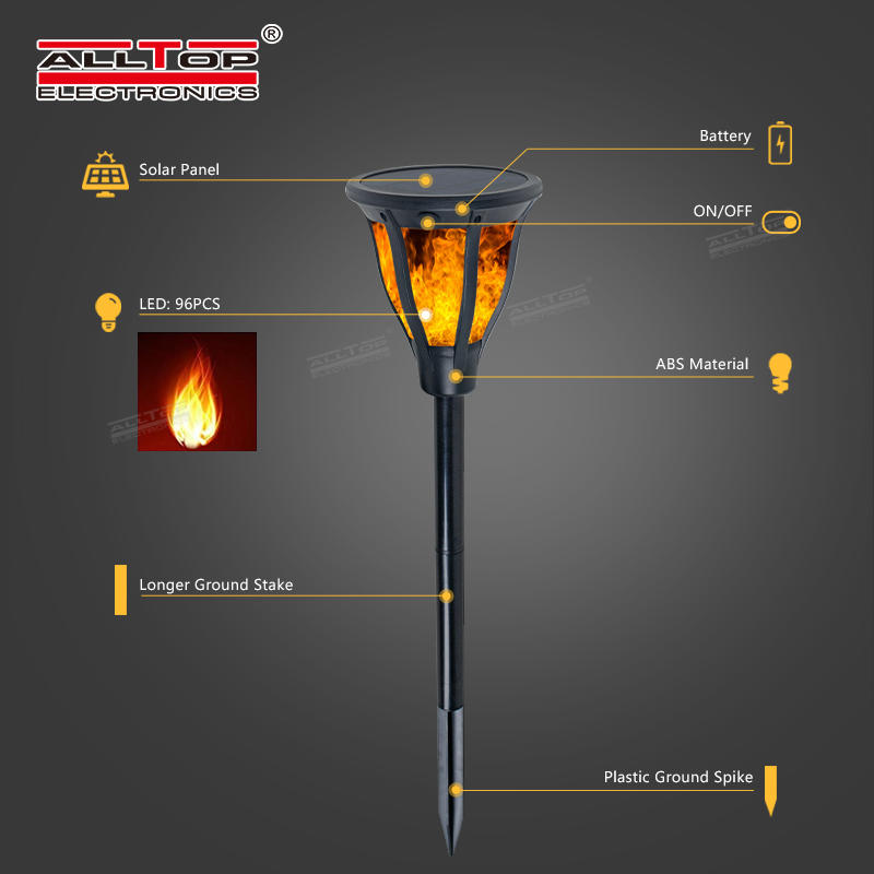 ALLTOP high quality outdoor park road lighting 2w ip65 flame led solar garden light