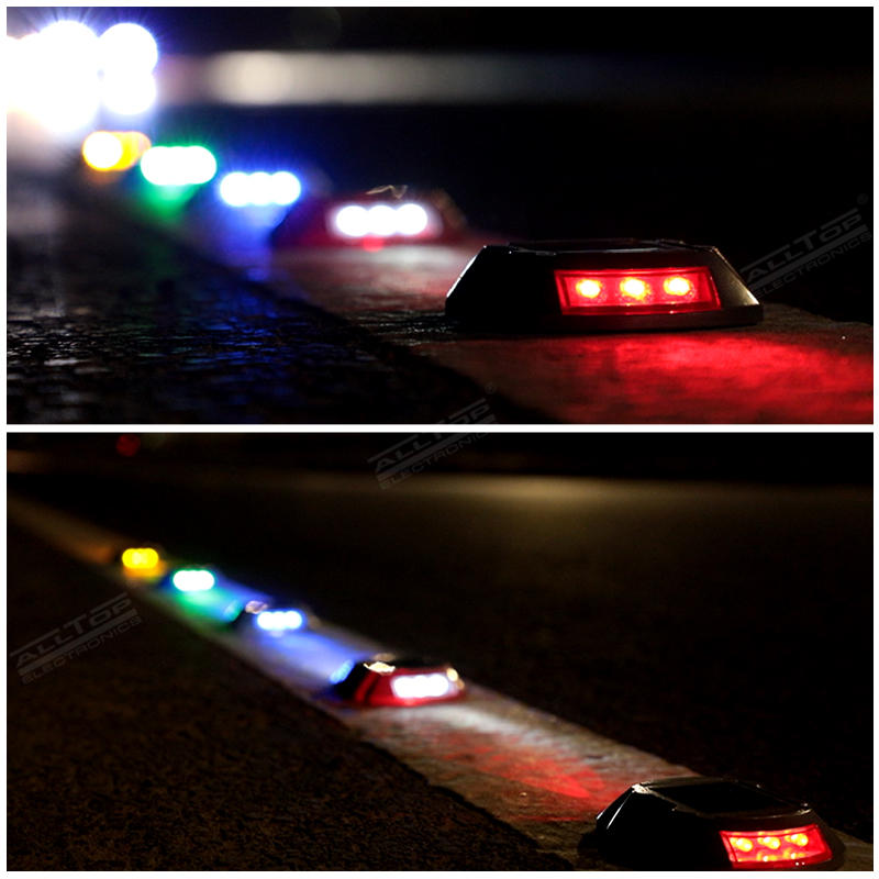 ALLTOP Ground Garden Lawn Deck Pathway Flashing Mode 6 LED Road Safety Solar Road Stud