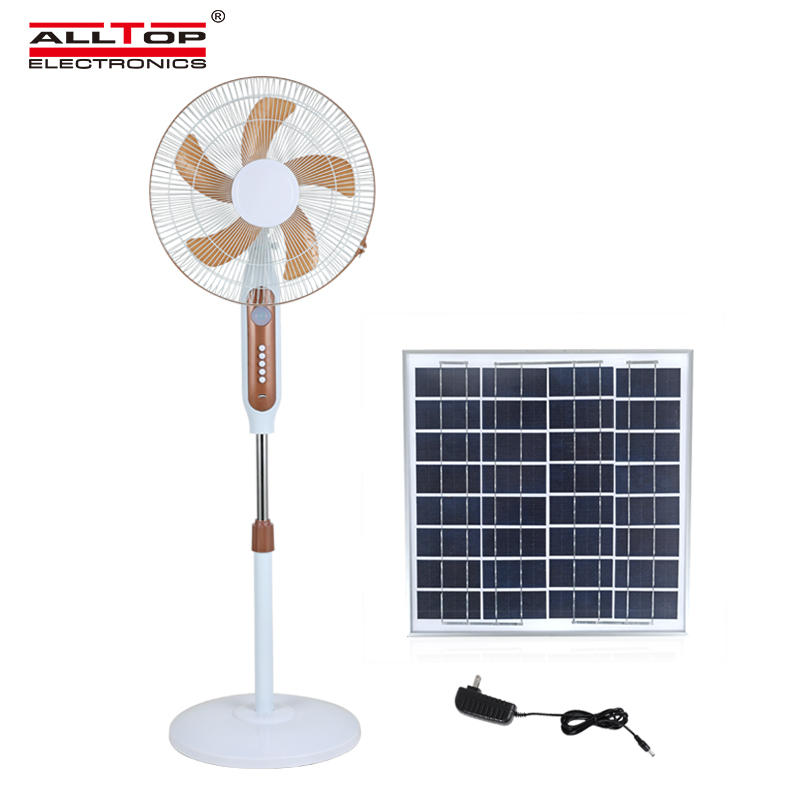 ALLTOP 16 inch rechargeable solar table fan with solar panel