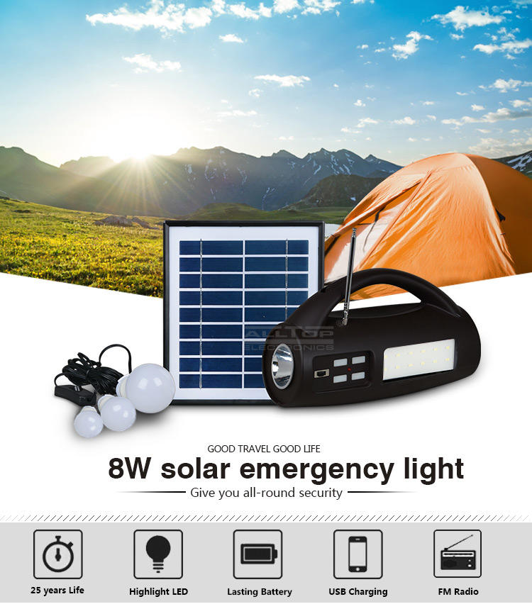 ALLTOP -Solar Lighting System, Energy Saving Ip65 Portable Camping Abs 8w Multifunctional