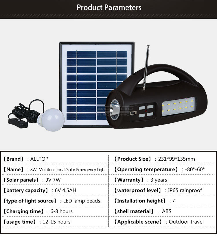 ALLTOP -Solar Lighting System, Energy Saving Ip65 Portable Camping Abs 8w Multifunctional-1